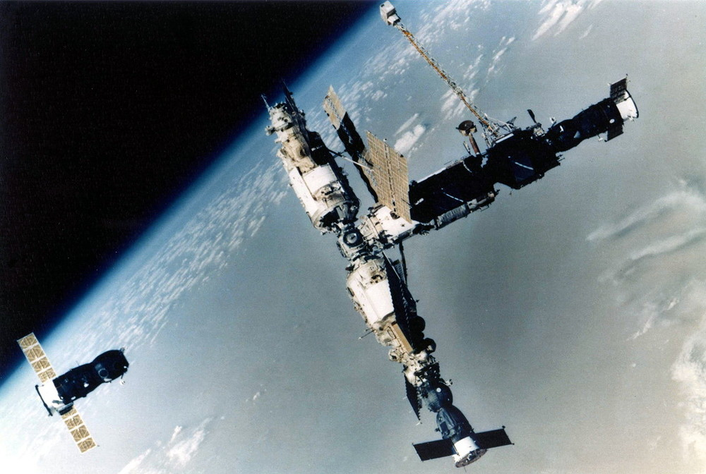 A Soyuz approaches the Russian Mir Space Station in the early 1990s. Photo Credit: Roscosmos