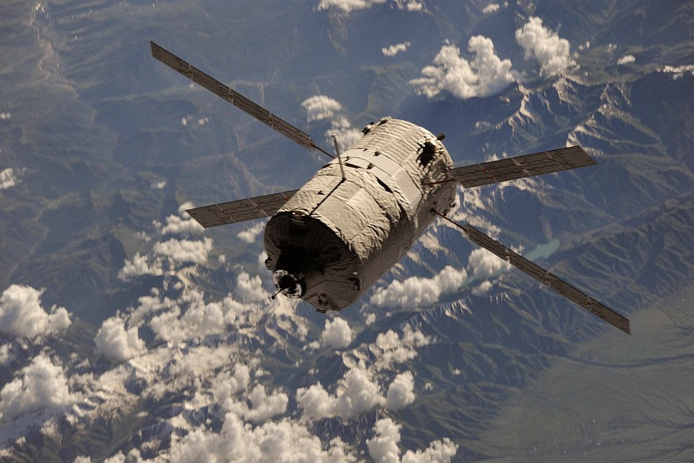ATV flies below the International Space Station. Photo Credit: NASA