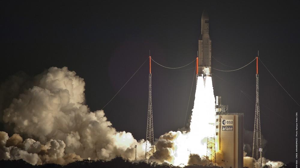 An Ariane V rocket lifts the ATV spaceward. Photo Credit: Arianespace