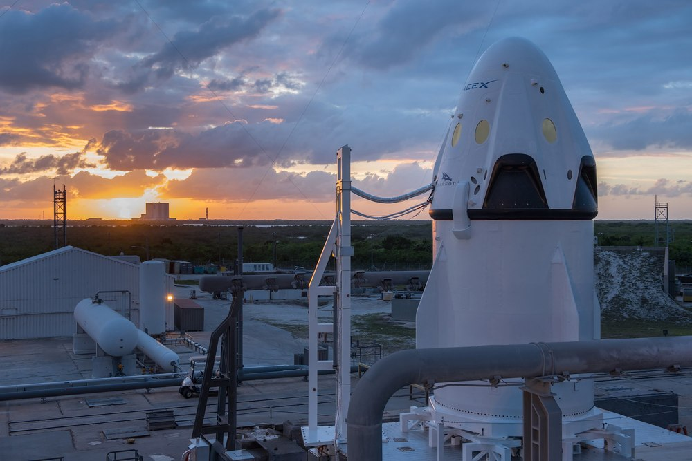 The Pad Abort Crew Dragon the morning of the test on May 6, 2015. Photo Credit: SpaceX