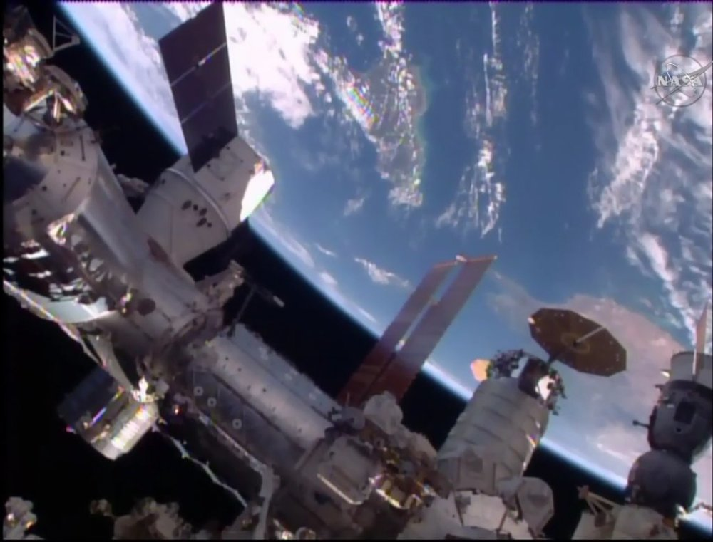 Both commercial cargo vehicles berthed at ISS at the same time for the first time in April 2016. Photo Credit: NASA