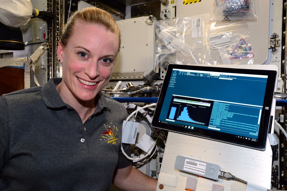 Using the MinION, astronaut Kate Rubins sequenced DNA in space for the first time ever. Photo Credit: NASA