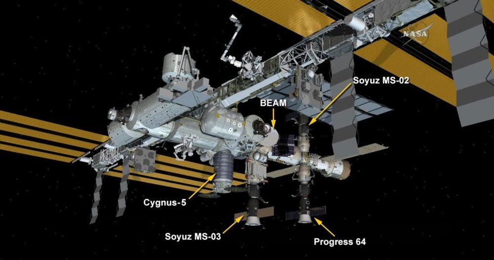 There are currently four spacecraft docked or berthed to the ISS. Cygnus will be unberthed on Monday, Nov. 21, while a Progress cargo ship will launch to the outpost on Dec. 1. Image Credit: NASA