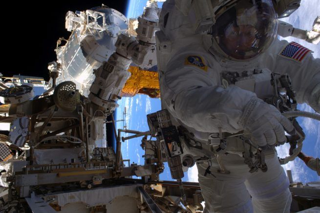 NASA astronaut Peggy Whitson assisted Kimbrough during the first spacewalk, EVA-38. In her place for EVA-39 will be Thomas Pesquet of the European Space Agency. Photo Credit: NASA
