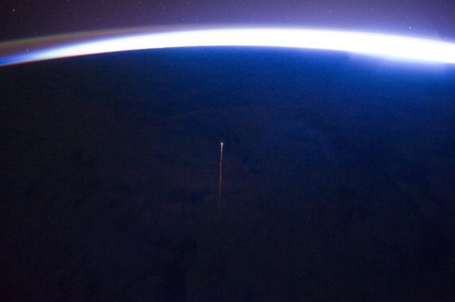 Progress MS-03 re-enters Earth's atmosphere. Photo Credit: Roscosmos