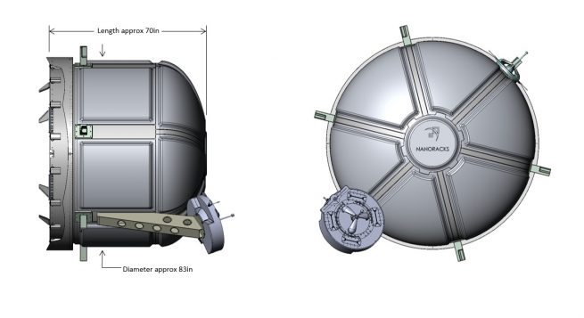 The airlock will be 2 meters wide and 1.8 meters long. It will be attached to Tranquility's port Common Berthing Mechanism. Image Credit: NanoRacks