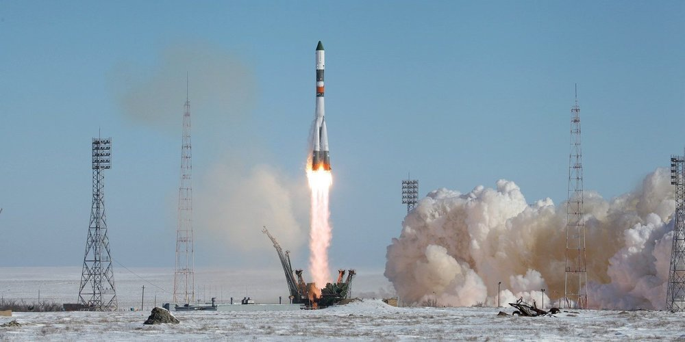 The Soyuz-U launch vehicle together with the cargo transport spacecraft, Progress MS-05. Photo Credit: Roscosmos