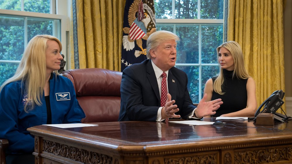 Astronaut Kate Rubins, left, President Trump, and Ivanka Trump discuss with Whitson and Fischer the importance of students pursuing careers in science, technology, engineering and math in advance of future flights to Mars. Photo Credit: Bill Ingalls / NASA