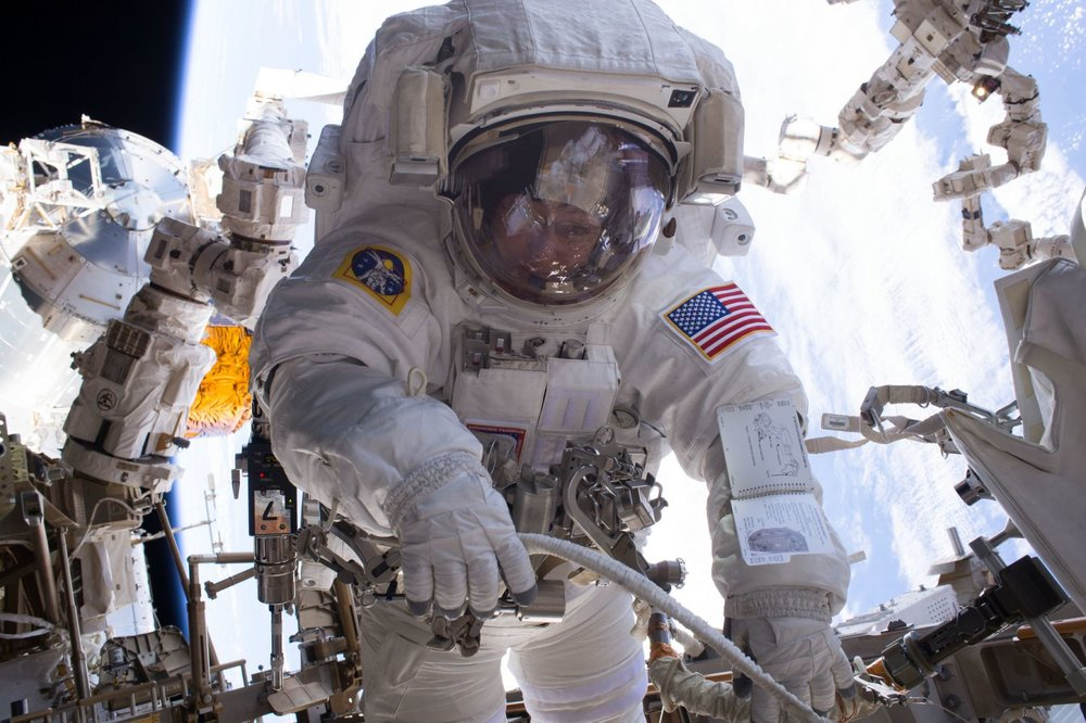 Peggy Whitson as seen during her seventh spacewalk in January 2017. With fellow astronaut Shane Kimbrough, she worked to finish installing new lithium-ion batteries on the International Space Station. Photo Credit: NASA