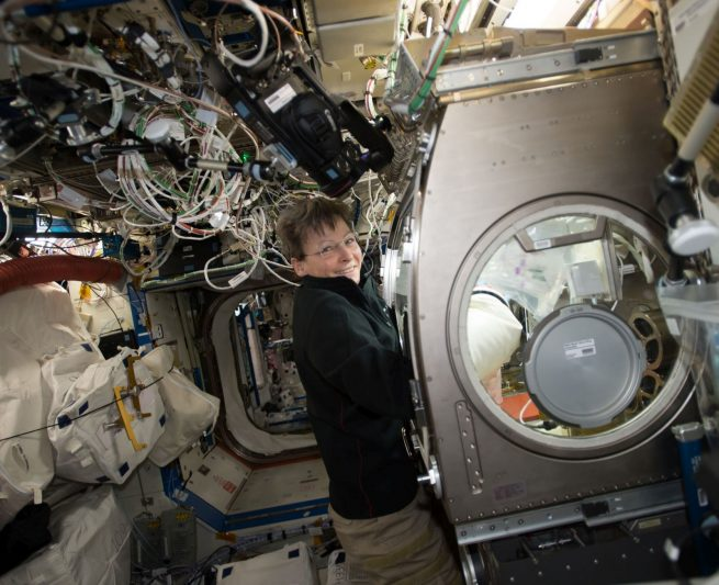 Peggy Whitson performs and experiment in the Microgravity Sciences Glovebox on the International Space Station. Photo Credit: NASA