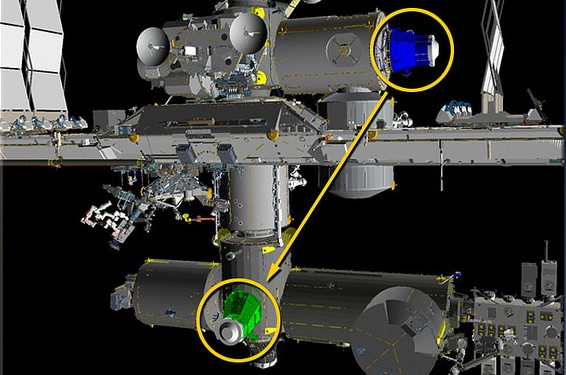A graphic of the relocation of PMA-3 from the port side of Tranquility to the space-facing side of Harmony. Image Credit: NASA TV
