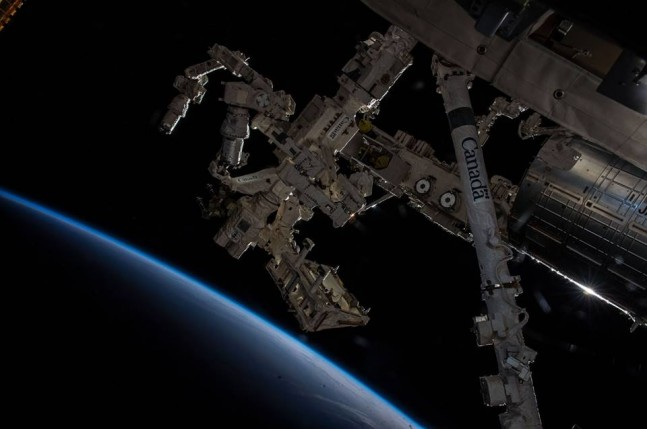 "Thomas Pesquet lubricated the Latching End Effector of the ""Dextre"" Special Purpose Dextrous Manipulator during the March 24, 2017, spacewalk. File Photo Credit: NASA"