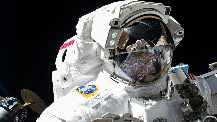 Peggy Whitson during EVA-42, which took place May 12, 2017. She will perform a contingency spacewalk on May 23, 2017. Photo Credit: NASA Read more at http://www.spaceflightinsider.com/missions/iss/contingency-spacewalk-required-to-replace-failed-relay-box/#WAezMfdZH530u2gy.99