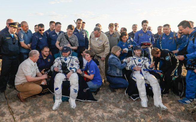 After being extracted from Soyuz MS-03, Oleg Novitskiy, left, and Thomas Pesquet were taken to couches for initial health checks and water. Photo Credit: Roscosmos Read more at http://www.spaceflightinsider.com/missions/iss/soyuz-ms-03-crew-returns-to-earth-after-nearly-200-days-in-space/#2y25Tz8hKvdAeyEo.99