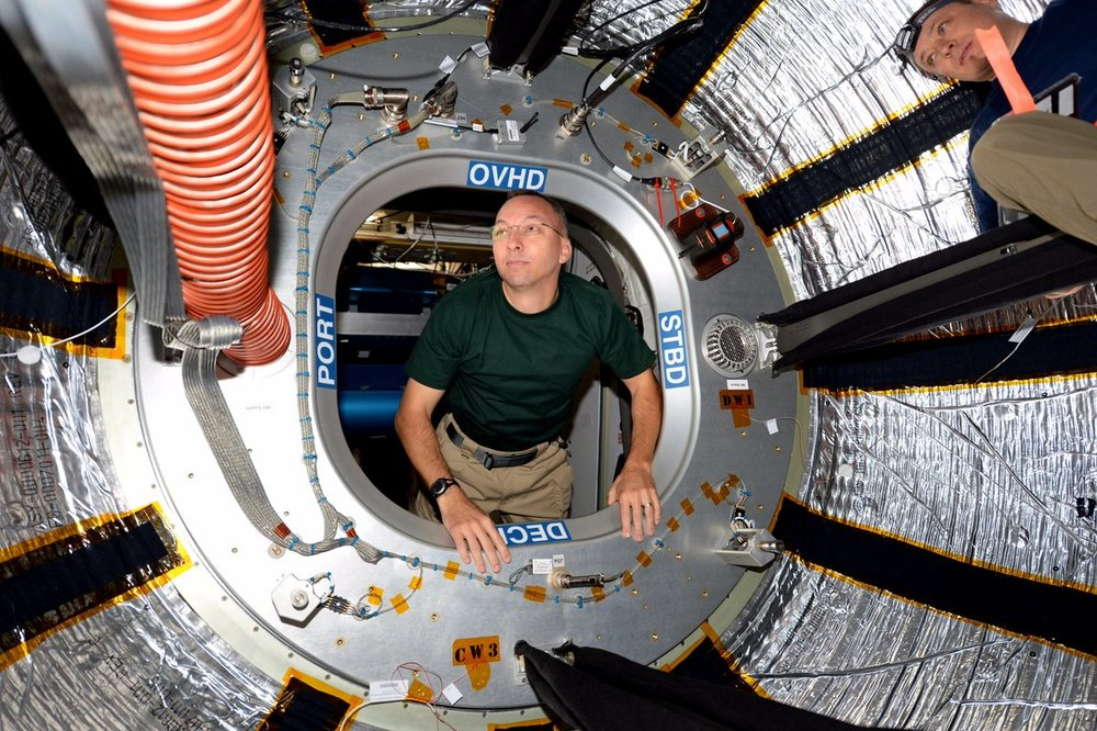 NASA astronaut Randy Bresnik enters the BEAM module. Photo Credit: NASA