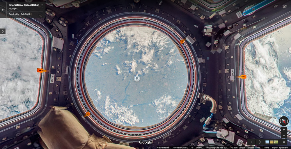 Google Street View now offers an out-of-this-world view of the International Space Station. Photo Credit: Google