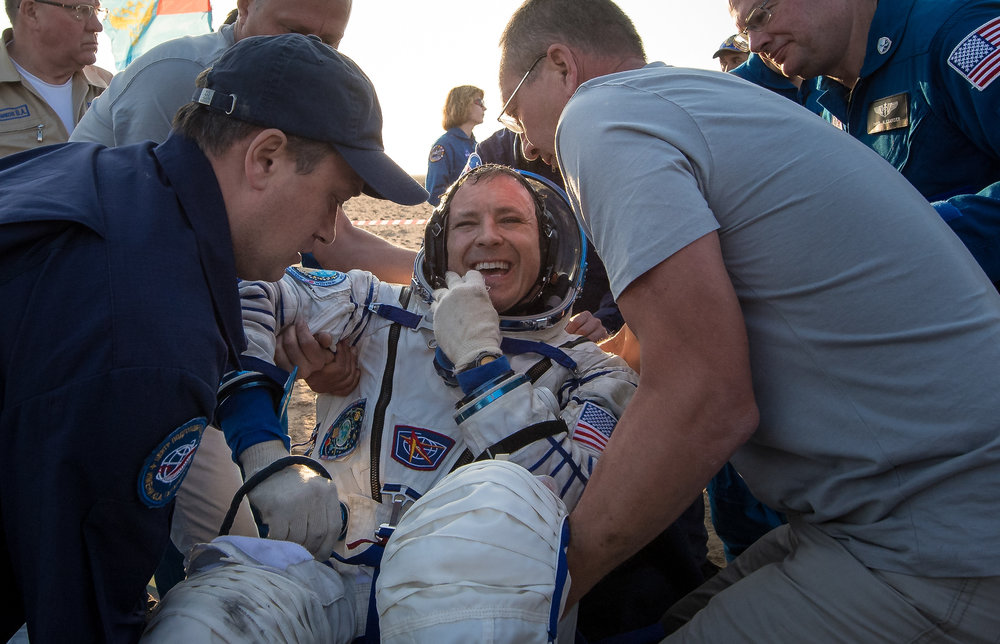 Jack Fischer was the second to be helped out of the Soyuz after landing. Photo Credit: Bill Ingalls / NASA