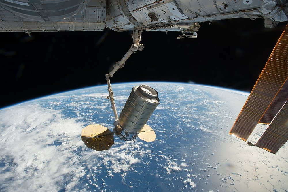 An Orbital ATK Cygnus spacecraft is captured by  Canadarm2  in late 2016 to be berthed to the  Unity  module of the outpost. Photo Credit: NASA