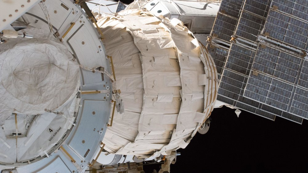 The Bigelow Expandable Activity Module, or BEAM, is attached to the Tranquility module. Photo Credit: NASA