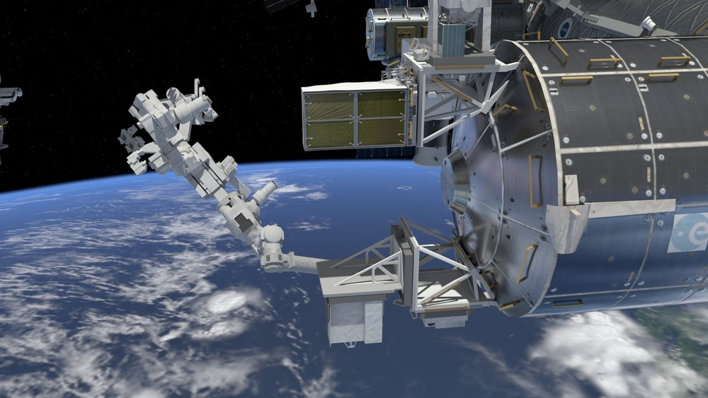 An artist's rendering of the Space Debris Senor installed on the International Space Station. It was one of two external instruments recently installed at the orbiting outpost. Credit: NASA