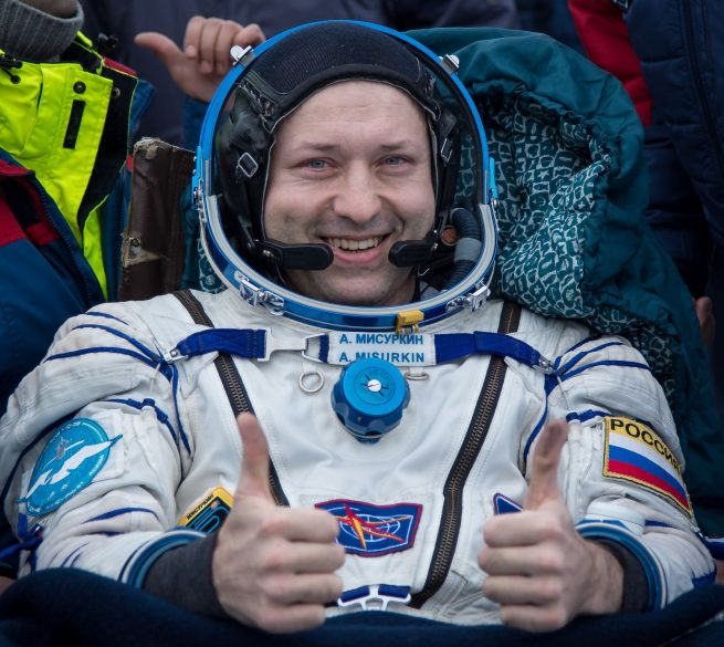 "Alexander Misurkin gives a ""thumbs up"" after concluding his flight into space. Credit: Bill Ingalls/NASA"