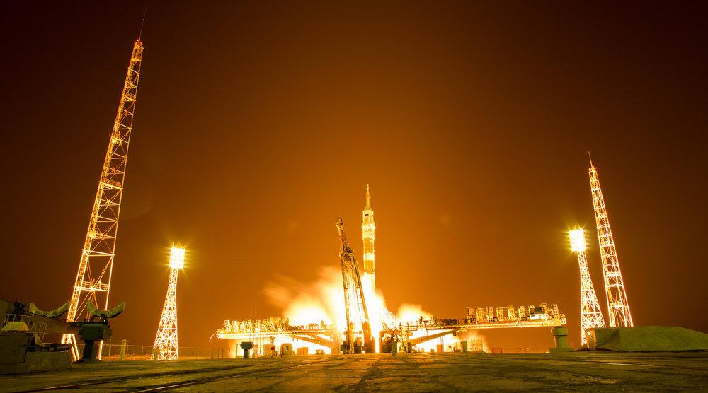 Liftoff of the Soyuz rocket with Soyuz MS-08. Credit: NASA/Joel Kowsky