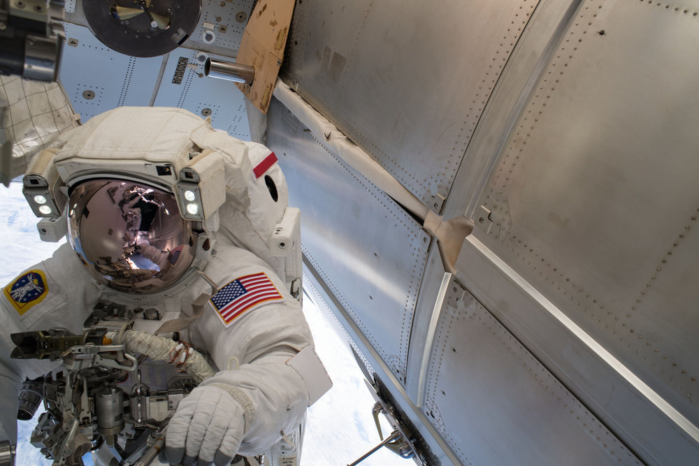 Astronaut Drew Feustel works outside the Tranquility module. Credit: NASA