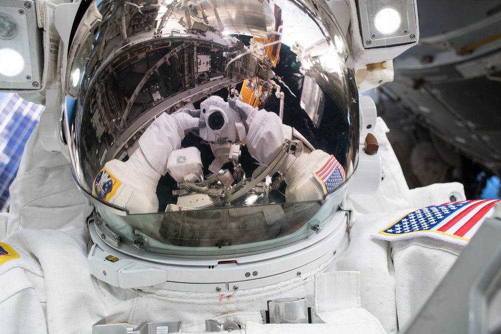 NASA astronaut Ricky Arnold takes a selfie during the outing. Credit: NASA