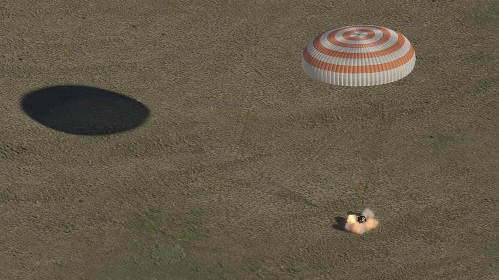 Soyuz MS-07 with three Expedition 55 crew members touches down on the Kazakh Steppe in Kazakhstan. Credit: Bill Ingalls / NASA