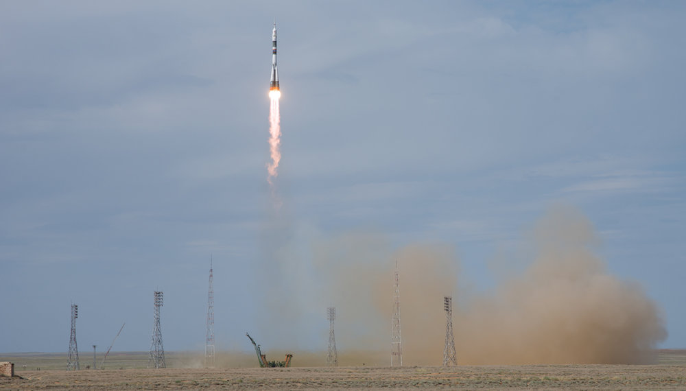 The Soyuz MS-09 spacecraft is launched with three members of the Expedition 56 crew bound for the International Space Station. Credit: Joel Kowsky / NASA