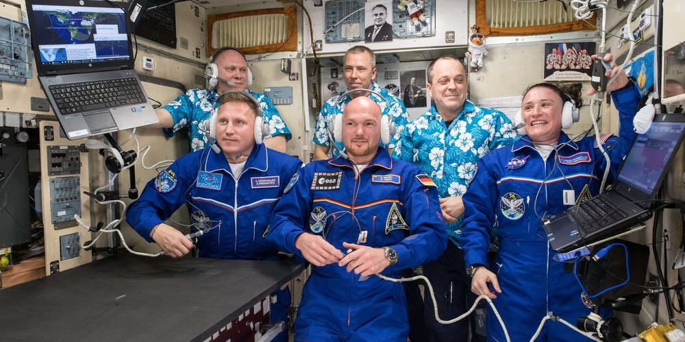 Upon the docking of Soyuz MS-09 with its three-person crew, Expedition 56 increased to its full six-member crew complement. The front row includes Russian cosmonaut Sergey Prokopyev, left, ESA astronaut Alexander Gerst, center, and NASA astronaut Aunon-Chancellor. The back row includes Russian cosmonaut Oleg Artemyev, NASA astronaut and ISS Commander Drew Feustel, center, and NASA astronaut Ricky Arnold. Credit: NASA