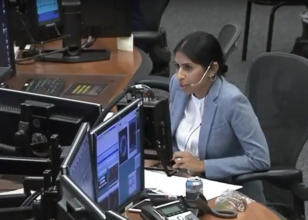 CapCom Pooja Jesrani congratulates Expedition 56 for the 30th visiting vehicle capture of the International Space Station program. Credit: NASA TV