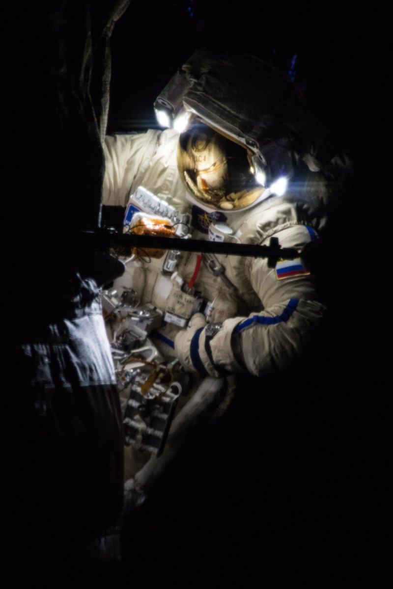 Sergey Prokopyev during Russian EVA-45. Credit: Alexander Gerst / ESA