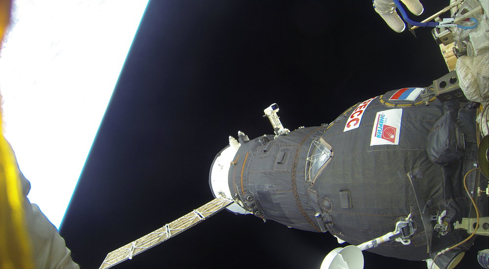 Progress MS-06 is seen attached to the ISS during a Russian spacewalk in 2017. Credit: Roscosmos