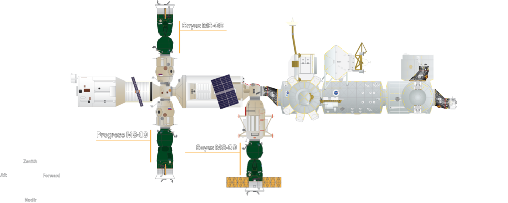 With Progress MS-08's departure, only three spacecraft remain attached: Soyuz MS-08, Soyuz MS-09 and Progress MS-09. Another Progress freighter isn't expected to launch until late October 2018. Credit: Derek Richardson/Orbital Velocity