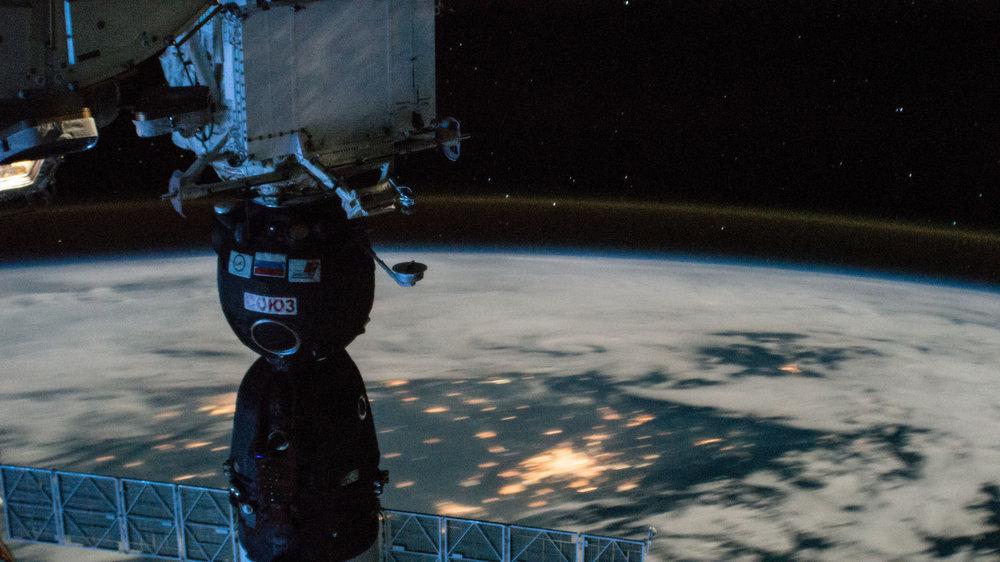 Soyuz MS-05 docked with the Rassvet module. Credit: NASA