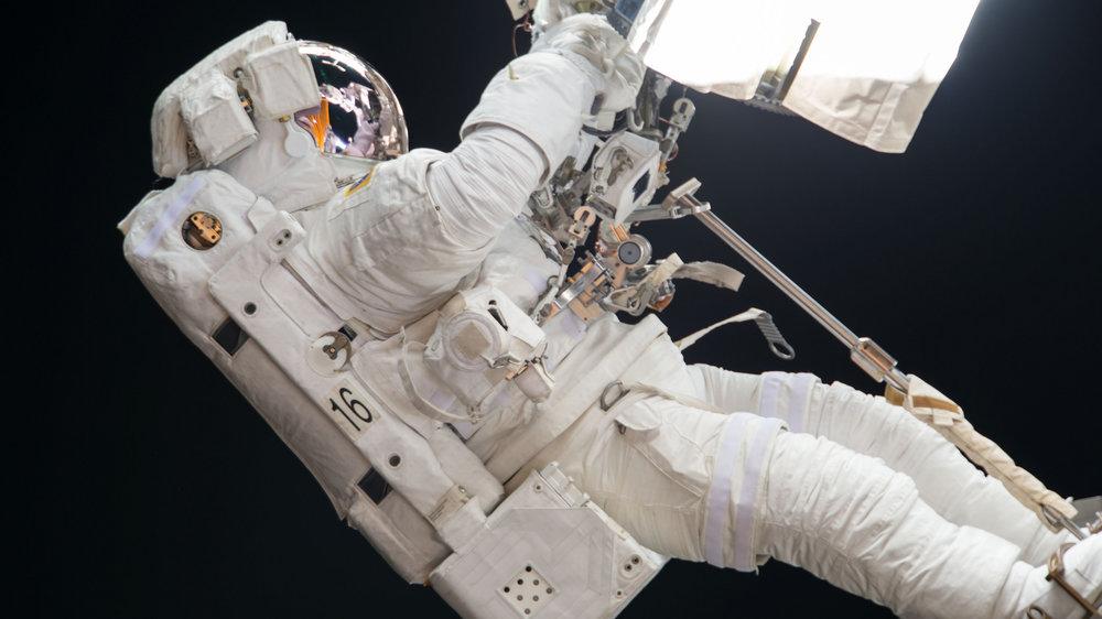 Joe Acaba works on the robotic Canadarm2 during U.S. EVA-46. Credit: NASA