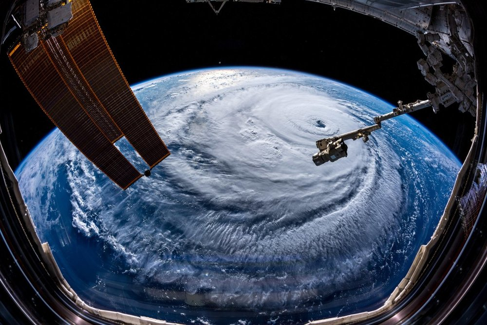 Aboard the International Space Station, European Space Agency astronaut Alexander Gerst, a member of the six-person Expedition 56 crew, captured this view of Hurricane Florence as it continued to track toward the East Coast of the United States. Credit: Alexander Gerst / ESA