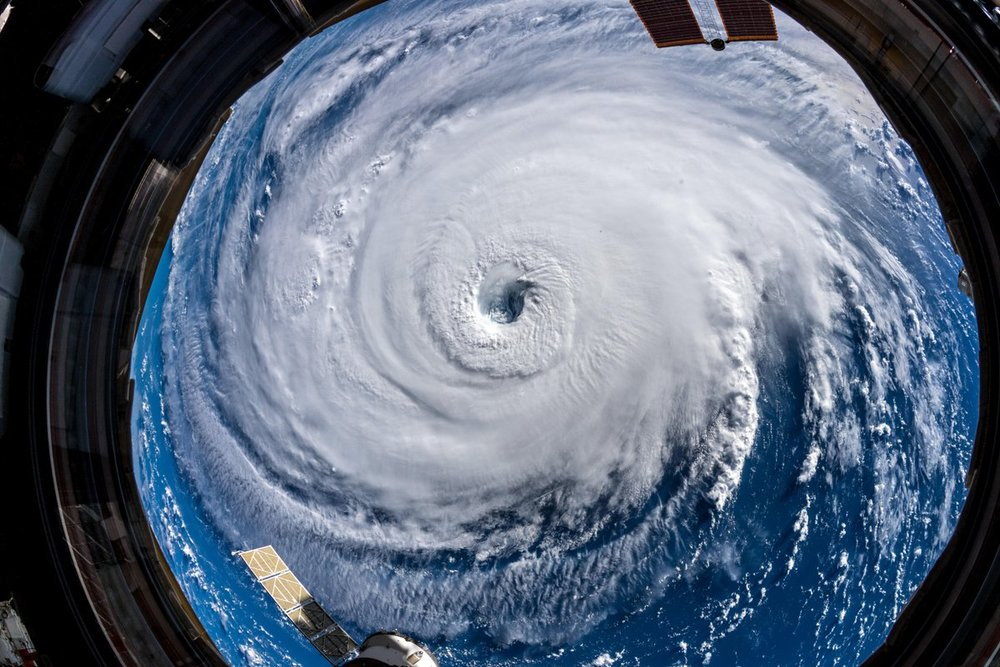Hurricane Florence directly below the International Space Station. Credit: Alexander Gerst / ESA