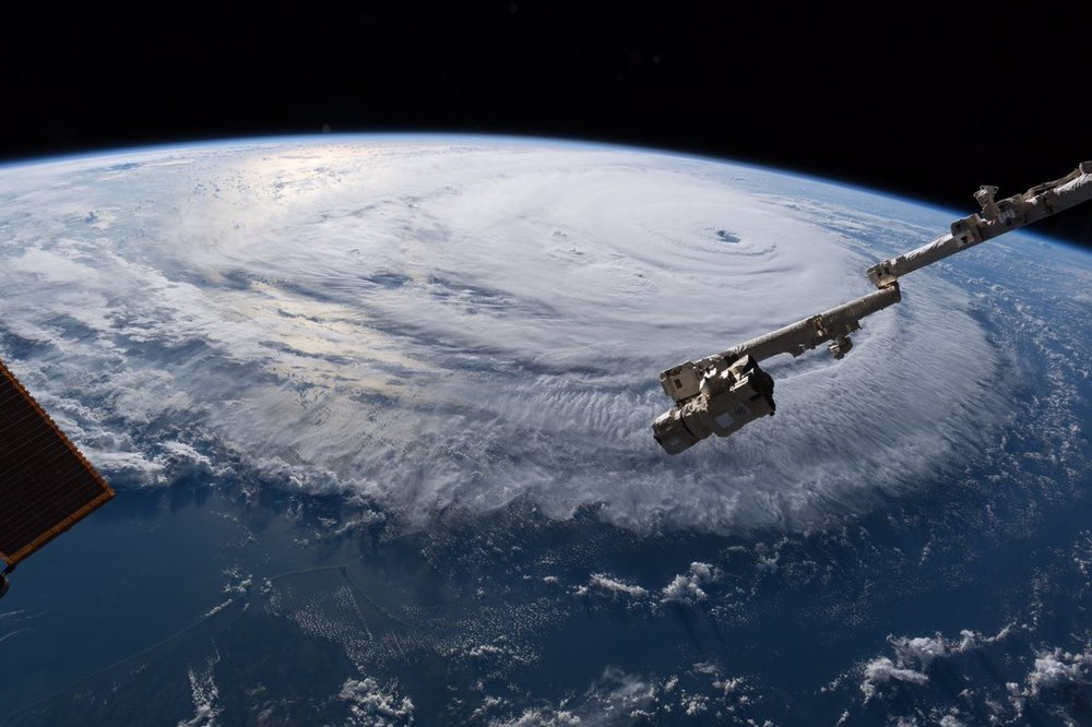 The outer bands of Hurricane Florence begin to approach the East Coast. Credit: Alexander Gerst / ESA