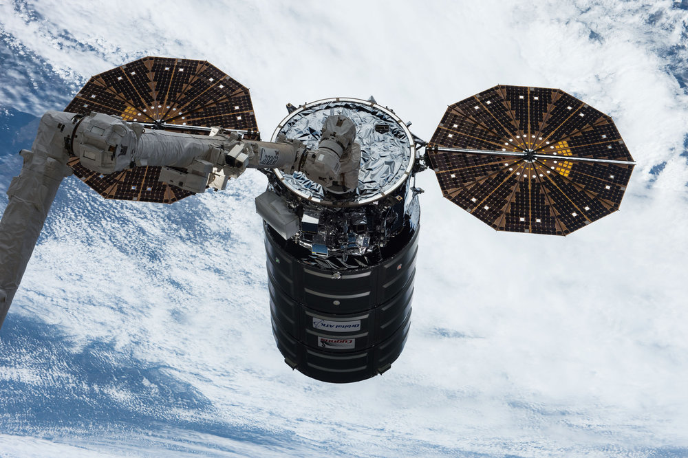 The OA-7 Cygnus is captured using the 17.6-meter robotic Canadarm2. Credit: NASA