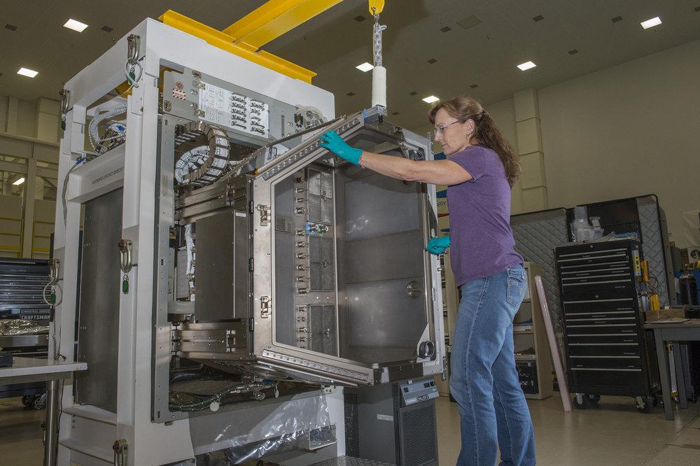 The Life Sciences Glovebox during testing at Marshall Space Flight Center in Huntsville, Alabama. Credit: NASA