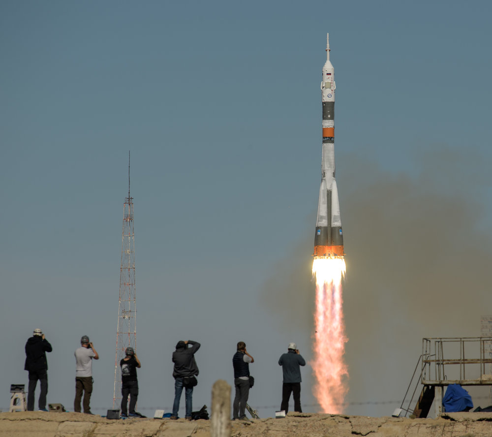 Soyuz MS-10 launches on time at 8:40 UTC Oct. 11, 2018. Credit: NASA/Bill Ingalls