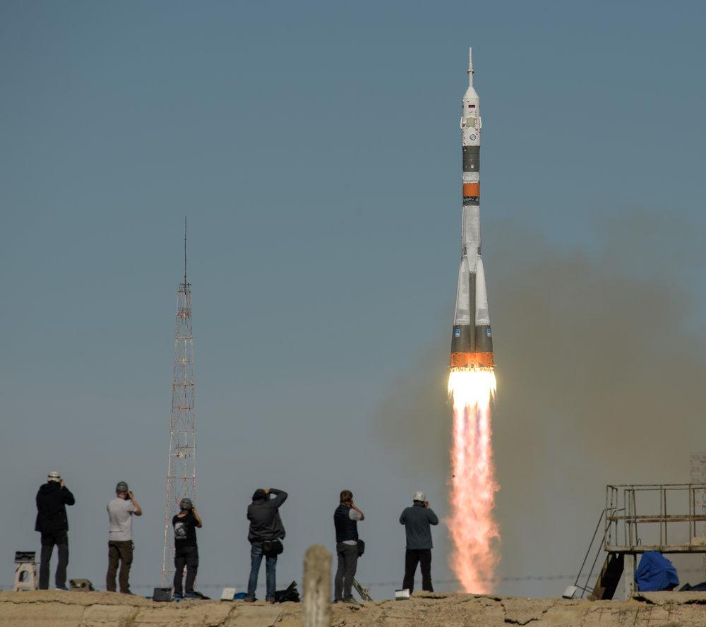 Soyuz MS-10 launches on time at 8:40 UTC Oct. 11, 2018. Credit: NASA/Bill Ingalls