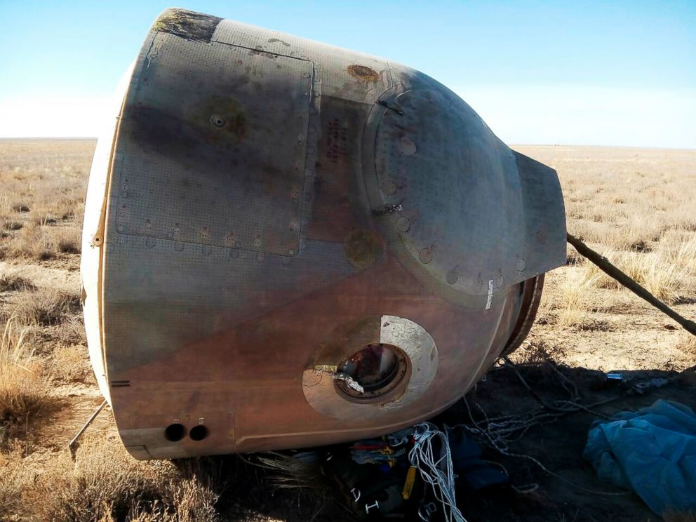 The capsule did its job to protect the crew. It is possible it could be refurbished and flown again. Credit: Russian Defense Ministry Press Service