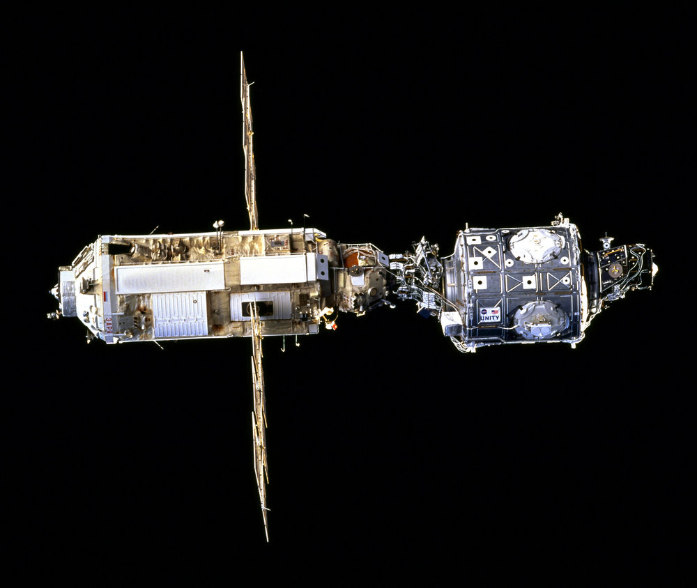 Zarya, left, and Unity as seen by the departing STS-88 crew in December 1998. Credit: NASA