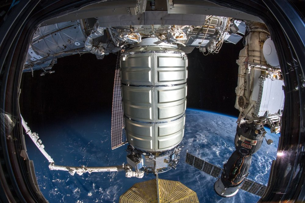 The NG-10 Cygnus is berthed to the Unity module. Credit: NASA