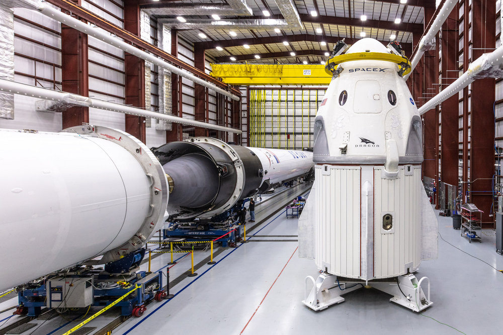SpaceX's Crew Dragon to be used on the Demo-1 mission sits a hangar before being integrated for its first trip to Launch Complex 39A. Photo Credit: SpaceX