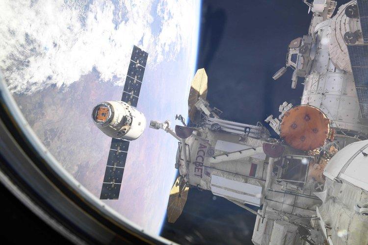 The CRS-16 Dragon departs the International Space Station. Credit: David Saint-Jacques / CSA