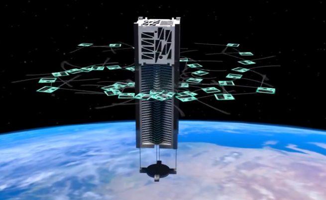 An artists rendering of KickSat deploying its femtosatellites. Credit: KickSat